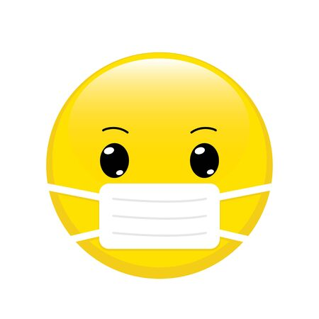 Cartoon emoji with mouth mask. Yellow emoticon with surgical mask on face. Stop coronavirus. Covid-19 protection. Epidemic safety