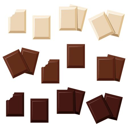 Pieces of chocolate, full and bitten. Milk, dark and white chocolate bites set. Organic cocoa product vector illustration
