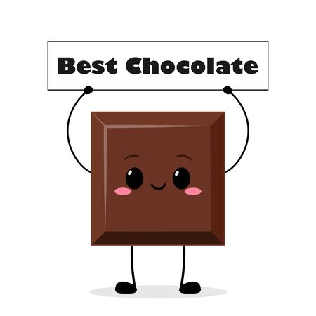 Cute chocolate bar character holding sign. Funny piece of chocolate vector illustration Ilustração