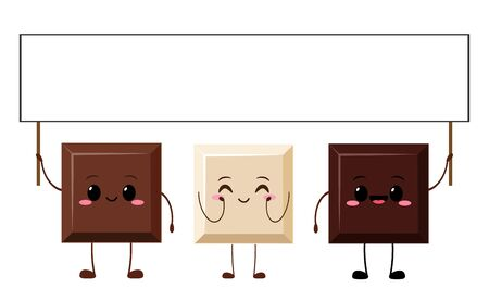 Cute chocolate bar characters holding sign. Funny piece of chocolate vector illustration