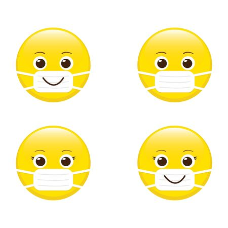 Cartoon emoji with mouth mask. Yellow emoticon set with surgical mask on face. Stop coronavirus. Covid-19 protection. Epidemic safety