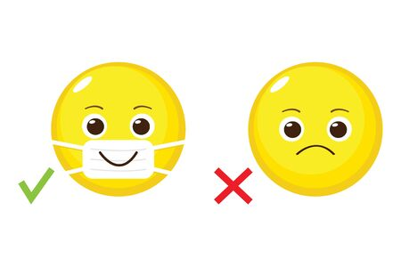Cartoon emoji with and without medical mouth mask. Yellow emoticon with surgical mask on face. Stop coronavirus. Covid-19 protection. Epidemic safety. Quarantine warning sign Ilustração