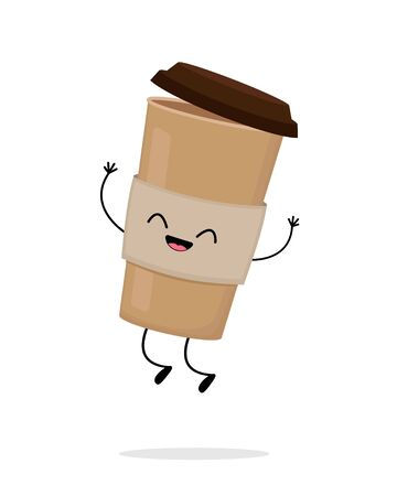Cute cartoon cardboard coffee cup jump. Take away coffee. Funny coffee to go. Happy eco container for beverage vector character