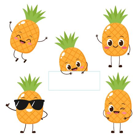 Pineapple character with funny face. Happy cute cartoon pineapple emoji set. Healthy vegetarian food character vector illustration