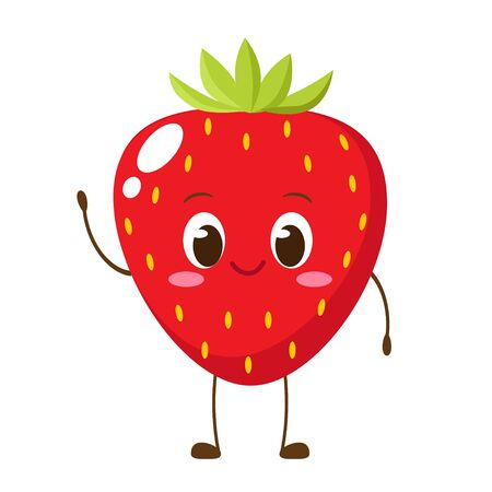 Cute happy strawberry character. Funny fruit emoticon in flat style. Berry emoji vector illustration. Healthy vegetarian food
