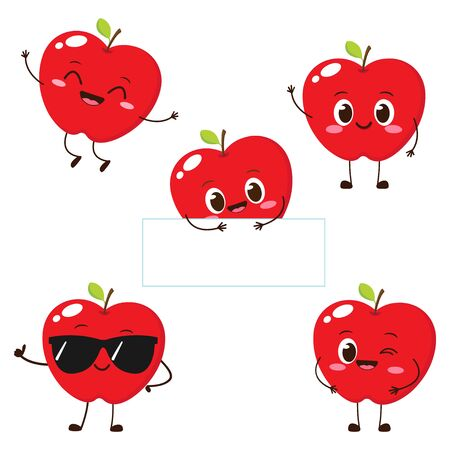 Apple character with funny face. Happy cute cartoon apple emoji set. Healthy vegetarian food character vector illustration