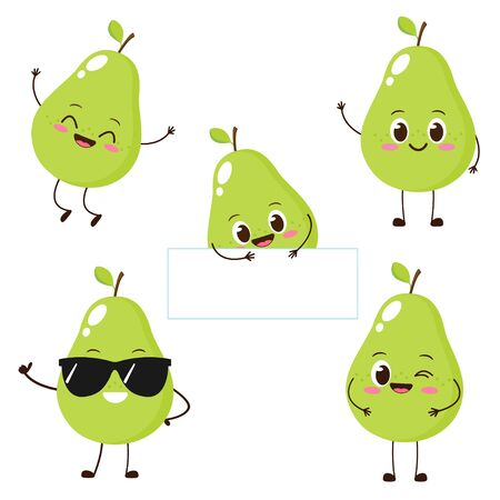 Green pear character with funny face. Happy cute cartoon pear emoji set. Healthy vegetarian food character vector illustration