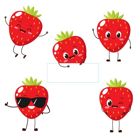 Strawberry character with funny face. Happy cute cartoon strawberry emoji set. Healthy vegetarian food character vector illustration