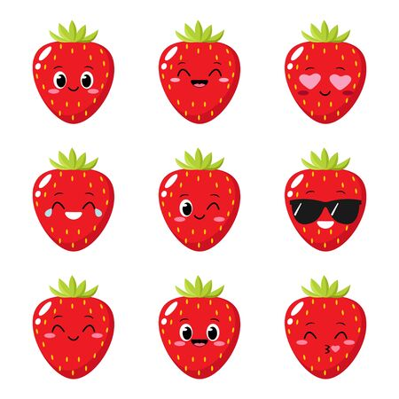 Strawberry character with funny face. Happy cute cartoon strawberry emoji set. Funny fruit emoticon. Healthy vegetarian food character vector illustration