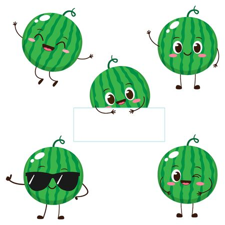 Watermelon character with funny face. Happy cute cartoon watermelon emoji set. Healthy vegetarian food character vector illustration