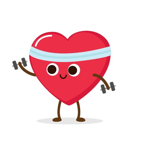 Cartoon red heart with dumbbells. Weight lifting, cardio exercise, sport activity. Healthy lifestyle.