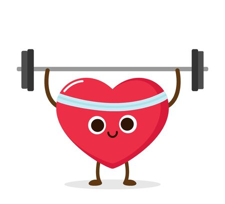 Cartoon red heart lifting weight. Cardio exercise, sport activity. Healthy lifestyle