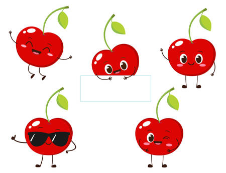 Cherry character with funny face. Happy cute cartoon berry emoji set. Healthy vegetarian food character vector illustration