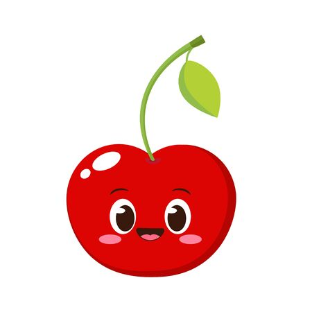 Cute happy red cherry character. Funny fruit emoticon in flat style. Berry emoji vector illustration. Healthy vegetarian food