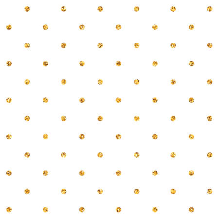 Seamless vector pattern with golden glitter polka dots on white background