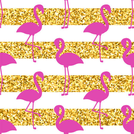 Vector seamless pattern with pink flamingo silhouettes and golden glitter stripes