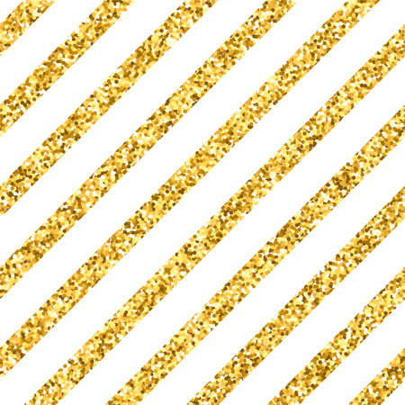 Vector seamless pattern with golden diagonal stripes. Gold glitter background