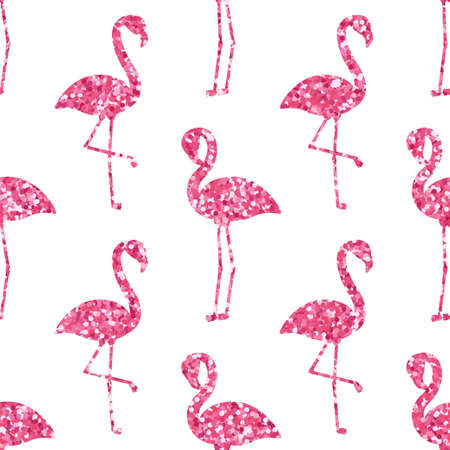Vector seamless pattern with pink glitter flamingo silhouettes on white background Ilustração
