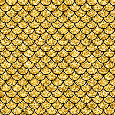 Gold glitter squama texture. Sparkle vector background. Golden scales seamless pattern for your design