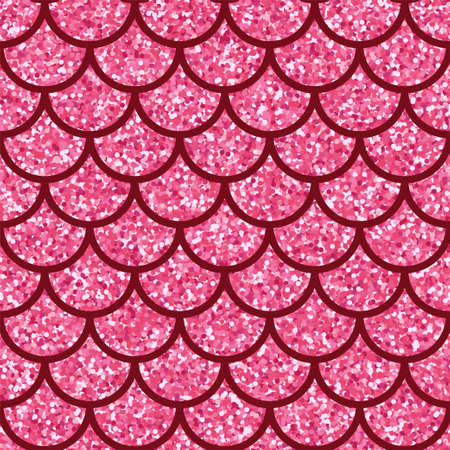 Pink glitter texture. Sparkle Wave vector background. Rose confetti scales mermaid fish tail seamless pattern for your design