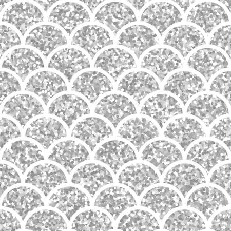 Silver glitter squama texture. Sparkle vector background. White scales seamless pattern for your design Illustration