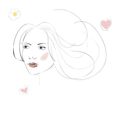 cabeza femenina: Resumen silueta de la cabeza femenina para su dise�o