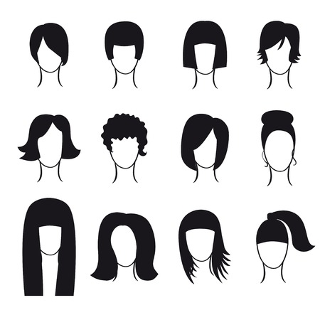 hair setting: Vector set of hair styling icons for your design Illustration