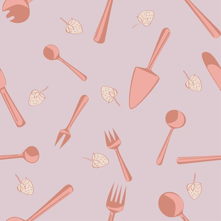 Vector seamless pattern with tableware for kitchen interior design Vector