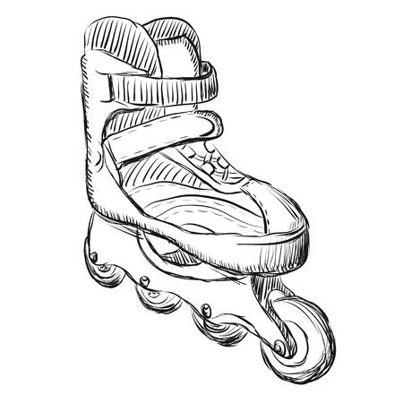Roller skates sketch illustration  Vector