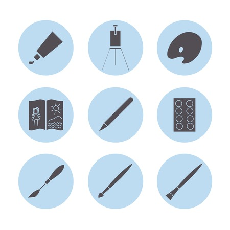 palette knife: Art materials icons set.