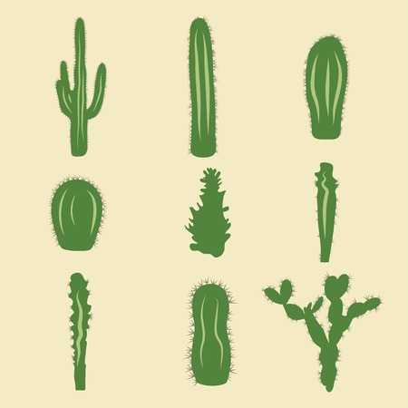 cactus desert: Stock vector set of cactus icons
