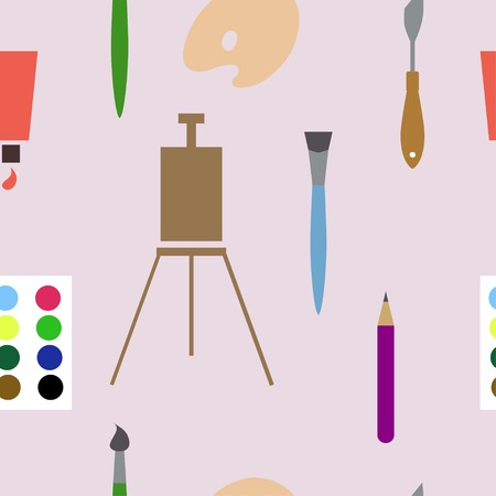 palette knife: Vector seamless background with art materials