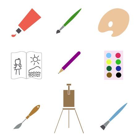 palette knife: Art materials icons set