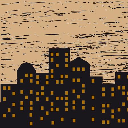 eventide: Vector illustration of night city Illustration