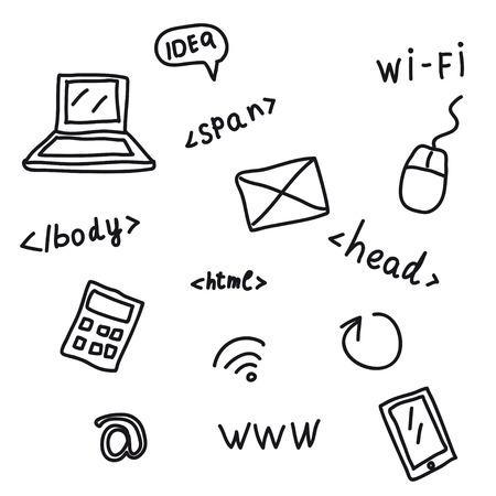 meta tags: Hand drawing web symbols isolated on white Illustration