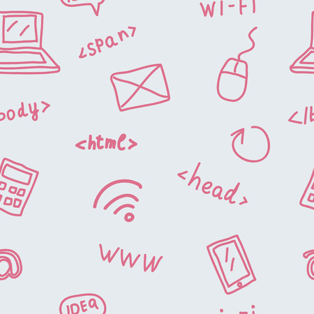 meta tags: Seamless pattern with web symbols