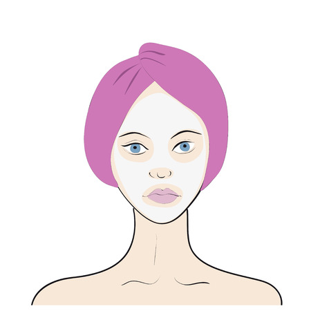 facial mask: Stock vector illustration of a woman with facial mask