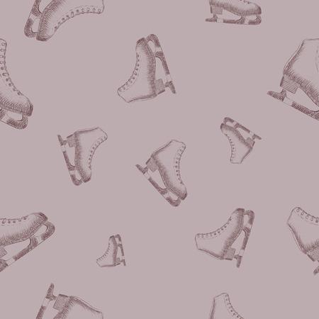 racing skates: Seamless pattern with sketch skates
