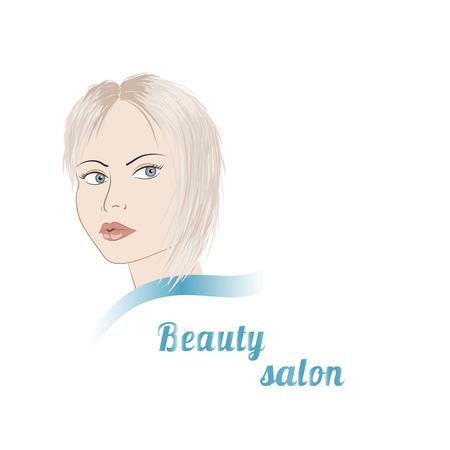 blond: Logo for beauty salon with blond girl. Stock vector illustration