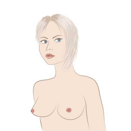 topless women: Blonde girl with naked breast. Vector illustration