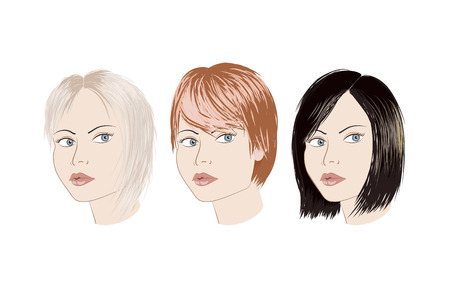 haircut: Three girls with different haircut. Blonde brunette redhead