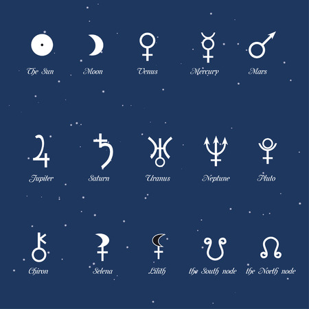 simbols: Astrological simbols, set of the planets signs. Vector illustration