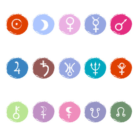 Colorful astrological signs of planets. Set of icons Stock Illustratie