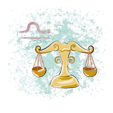 12 month old: Astrologycal Zodiac sign Libra. Hand-drawn vector illustration Illustration