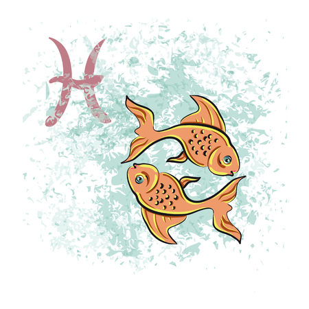 zodiacal symbol: Pisces sign of the zodiac. Hand-drawn vector illustration
