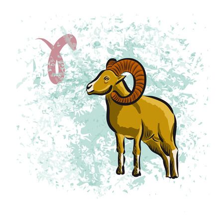 stubbornness: Aries sign of the Zodiac. Hand-drawn vector illustration