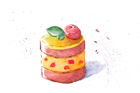 vanilla pudding: Watercolor painting illustration of a delicious cake. Stock Photo