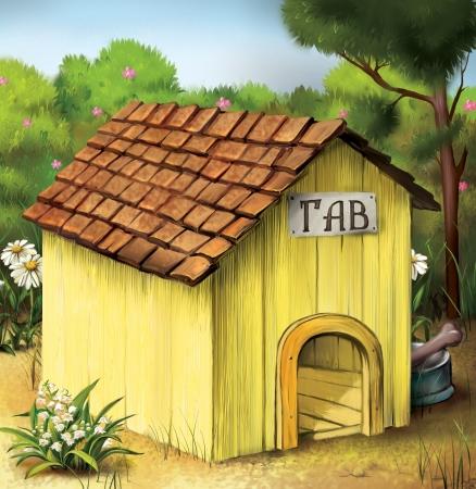 casa de perro: Yellow Dog House Foto de archivo