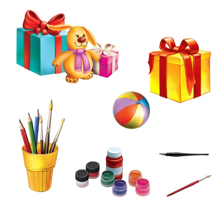 pencil box: Children gifts and toys  Gift boxes with ribbons  Rabbit, ball, pencils and pen, paint and brushes Stock Photo