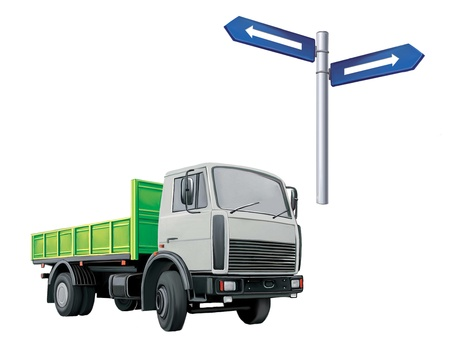 autotruck:  green Autotruck, Lorry, road sign Stock Photo